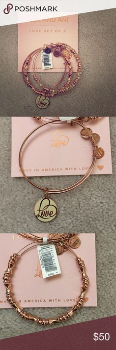 Alex and Ani Set of Three Rose Gold Love Bracelets Beautiful set of Alex and Ani Rose Gold Bracelets. Brand New with Tag, Never Worn. Alex & Ani Jewelry Bracelets
