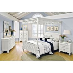 Our Plantation Cove White Canopy Queen Bed Is Fresh And Inviting Ideal