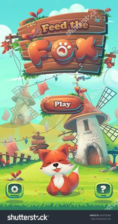Feed The Fox Gui - Cartoon Stylized Vector Illustration Mobile Format Window With Play, Options Buttons. For Print, Create Videos Or Web… Gui Interface, Casual Art, Game Gui, Game Logo Design, Splash Screen, Cute Games, Professional Logo Design, How To Make Logo, Game Concept