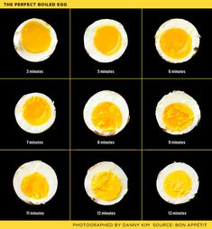 9 minutes is my magic cooking time, passed down by my dear mom who makes the perfect hard boiled eggs every time! cooking times for eggs / bon appetit Perfect Boiled Egg, Perfect Eggs, Perfect Food, Fun Cooking, Cooking Recipes, Healthy Recipes, Cooking Eggs, Cooking Time, Cooking Classes