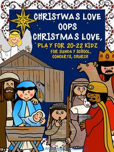 This Christian Christmas play for 20-22 children from about gr 3— 8 offers a variety of part lengths; allows you to highlight actors' musical talents; suggests ideas for costumes, props, backdrops, lighting for the 9 scenes; http://www.teacherspayteachers.com/Store/The-Artsy-French-Teacher  Supplies a marvellous brainchild of an organizational page which will help the director keep on top of which actors, props and costumes, set and backdrop, lighting, music is required in each scene.