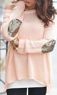 Peach Glitter Elbow Sweater ❤︎  I ABSOLUTELY LOVE THIS