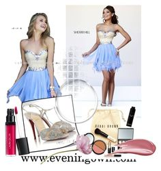 """""""Periwinkle Sherri Hill 1928 Beaded Short Party Dress"""" by chicpromdress on Polyvore"""