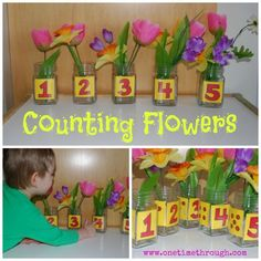Counting to 5 with Flowers - easy activity to teach one to one number correspondence to little ones #preschoolers #math #kids {One Time Through}