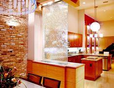 living room waterfall as room divider - Decoist