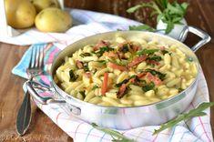 Cavatelli con crema di patate speck e rucola Potato Salad, Macaroni And Cheese, Ethnic Recipes, Food, Cream, Mac And Cheese, Essen, Meals, Yemek