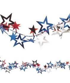 Patriotic Jumbo Stars Wire Garland  Put on the buffet table?