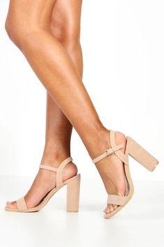 Womens Block Heel Barely There Heels - Beige - 6 Nude High Heels, Beige Heels, Bridesmaids Heels, Bridesmaid Dress, Summer Feet, Wedding Heels, Latest Shoes, Shoes, Boots