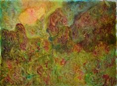 Mère de l'arbre Neem et Mère de la lune croissante - Painting ©2016 by MAriska MA Veepilaikaliyamma -                                                                                                                        Abstract Art, Abstract Expressionism, Environmental Art, Symbolism, Fabric, Nature, Spirituality, Tree, MAriska MA Veepilaikaliyamma, MAriska MA Veepilaikaliyamma - Eco-spiritual Earth-Nature Goddess Art, MAriska MA Veepilaikaliyamma - l'art éco-spirituel de la déesse Terre…
