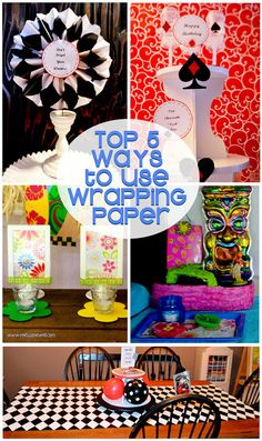 TOP 5 Ways to Use Wrapping Paper via Eye Candy Event Details #partytips #partydecor #paperDIY