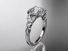 platinum diamond leaf and vine wedding ring,engagement ring ADLR179. $1,795.00, via Etsy.