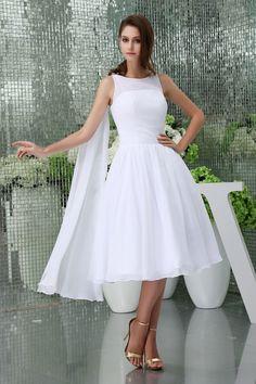 Sleeveless White Knee Length  A-line Bateau Neck Chiffon Wedding Dress