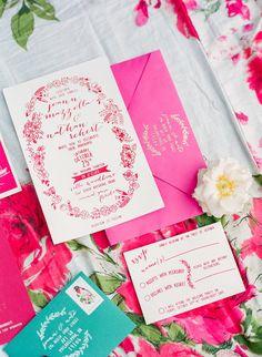 hot pink wedding invitations - photo by Michelle March http://ruffledblog.com/fuchsia-and-emerald-wedding-at-villa-woodbine