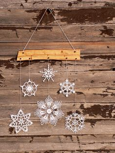 Holiday decor - crochet snowflake and wood ornament for cozy home -