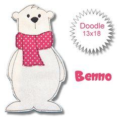 Stickmuster - Benno Eisbär Doodle 13x18  Stickdatei - ein Designerstück von GretevomLaendle bei DaWanda