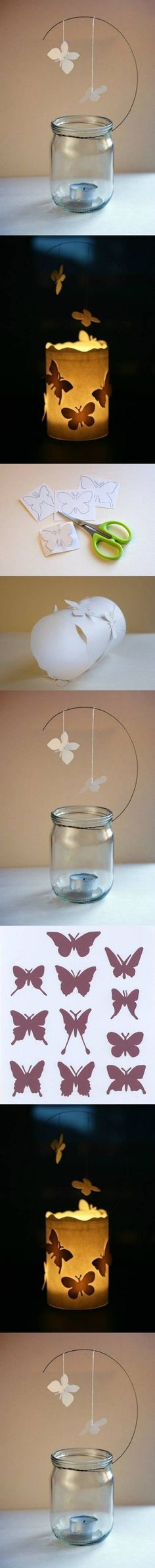 DIY Butterfly Candle Decor craft decor butterfly candle diy easy crafts craft ideas diy ideas home crafts diy crafts craft decor do it yourself craft decorations easy diy diy photos diy tutorials diy tutorial ideas Jar Crafts, Cute Crafts, Diy And Crafts, Crafts For Kids, Arts And Crafts, Diy Papillon, Borboleta Diy, Diy Projects To Try, Craft Projects