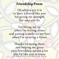 Friendship Poem Oh what a joy it is to have a friend like you – Commentwarehouse | Say it with a pic!