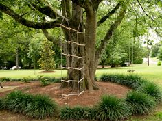 Ideas to Encourage Kids' Outdoor Play >> http://blog.diynetwork.com/maderemade/2013/07/09/the-giving-tree-play-station/?soc=pinterest