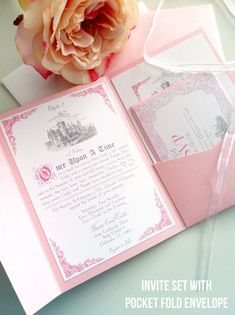 Fairytale Wedding Invitation Suite by AbbieLeeDesigns on Etsy Fairytale Wedding Invitations, Fairytale Weddings, Cinderella Wedding, Wedding Invitation Sets, Wedding Stationery, Invitation Suite, Wedding Disney, Fairytale Book, Princess Wedding