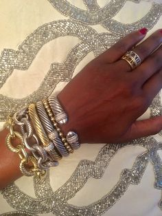 Stacked bracelets - Silver and Gold David Yurman & Tiffany