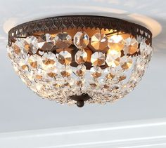 Mia Faceted-Crystal Flushmount | Pottery Barn  Master closet lighting (2 total)