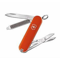 Camping Fixed-Blade Knives - Victorinox  Victorinox Classic Orange  Swiss Army Pocket Knife  58 mm  7 Tools >>> Details can be found by clicking on the image.