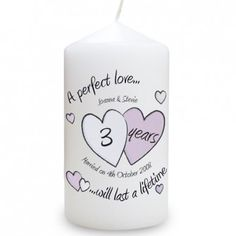 Personalised Anniversary Candle - A Perfect Love