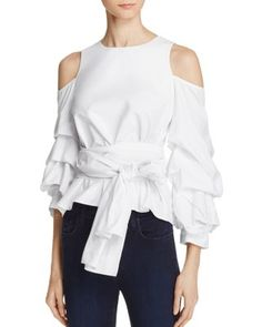 0d94d6266b4a8 JOA Cold-Shoulder Ruffle Sleeve Top - 100% Exclusive Women - Bloomingdale s