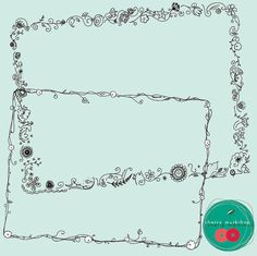 """Doodle Borders """"Spring Doodle Borders"""" Floral hand-drawn border design, scrapbook pages, spring cards, spring party decor , wedding invites Hand Drawn Border, Doodle Frames, Doodle Borders, Floral Doodle, Spring Party, Doodle Designs, Border Design, Scrapbook Pages, Party Invitations"""