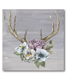 Antlers & Flowers II Wrapped Canvas