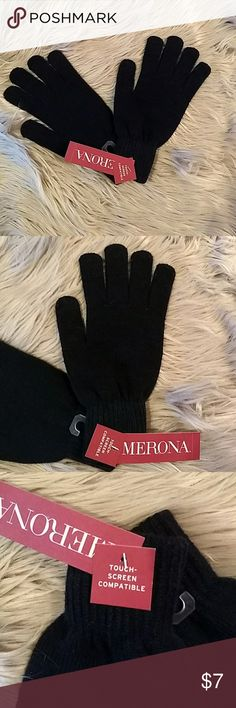 NEW Merona Touch Screen Compatible Black Gloves New with Tags Touch Screen Compatible Gloves in black.  Knit, washable and one size fits most! Merona Accessories Gloves & Mittens