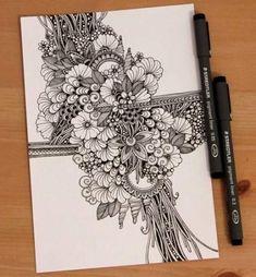 Doodle art 108508672260360615 - Flowers art drawing doodles inspiration Ideas Source by cyndipiquard Flower Art Drawing, Doodle Art Drawing, Zentangle Drawings, Mandala Drawing, Zentangle Patterns, Art Drawings, Doodling Art, Tangle Art, Doodles Zentangles