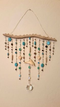 Gorgeous Driftwood Ocean Mobile Sun Catcher Wall by TashasVintage Seashell Crafts, Beach Crafts, Diy And Crafts, Driftwood Mobile, Driftwood Art, Driftwood Projects, Diy Wind Chimes, Creation Deco, Beaded Curtains