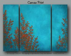 Large red u0026 turquoise abstract botanical art for home or office decor by  Denise Cunniff -