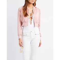 Charlotte Russe Satin Cropped Bomber Jacket (21 AUD) ❤ liked on Polyvore featuring outerwear, jackets, mauve, satin bomber jacket, cropped jacket, zip jacket, zipper jacket and cropped bomber jacket
