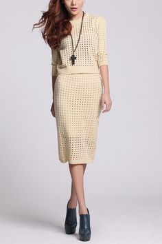 Apricot sweater dress two pieces handknit woman