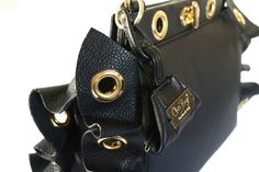 """New """"La Rouche""""!!100% tumbled black leather with gold metal eyelets. Shop at: www.chixbags.it Original Handmade Bags Tuscany/Italy Worldwide shipping info@chixbags.it"""