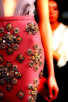 Gemstones couture detail.