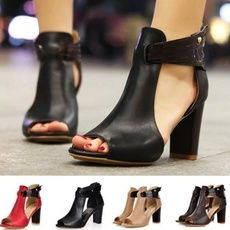 Womens Block Mid High Heels Chunky Sandals Open Toe Party Summer Casual Shoes US Chunky Sandals, Mid Heel Sandals, Ankle Strap High Heels, Chunky Boots, Boot Heels, Ankle Boots, Up Shoes, Open Toe Shoes, Casual Shoes