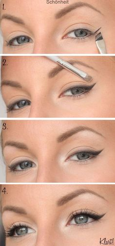 everyday make-up step by step - # everyday # for . - Haar Make-Up - Eye-Makeup Everyday Make Up, Eye Make Up, Make Up Steps, Eye Makeup Steps, Smokey Eye Makeup, Eyeliner Makeup, Cat Makeup, Eyeliner Tattoo, How To Do Winged Eyeliner