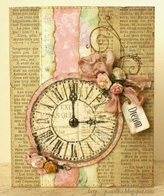 Dream ~ This charming mixed media collage would make the perfect background for a heritage page...just add photos! *Click on photo for step by step instructions.
