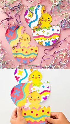 Hatching Chick Craft With Coloring Template these make cute Easter cards from kids! Kids Create Hatching Chick Craft With Coloring Template these make cute Easter cards from kids! Egg Crafts, Easter Art, Bunny Crafts, Easter Crafts For Kids, Toddler Crafts, Paper Crafts, Kids Diy, Decor Crafts, Easter Ideas