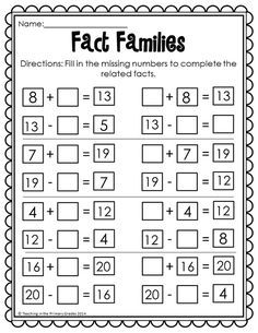 Thanksgiving Math and Literacy Printables- No Prep (Common Core Aligned) Thanksgiving Math Worksheets, First Grade Math Worksheets, Printable Math Worksheets, First Grade Activities, 1st Grade Math, Addition Worksheets, Second Grade, Fact Family Worksheet, Math Fact Fluency