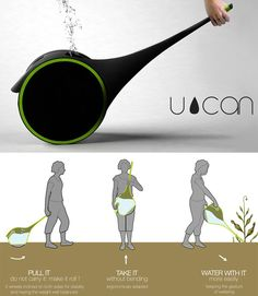 The U-CAN, inspired by the elephant's super-functional trunk, features an extended tactile spout and built-in wheels on either side of its reservoir that make it easy to pull from gardening area to gardening area.
