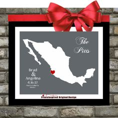 Personalized State or Country Wedding Gifts: Any Desination Location Mexico Wedding Custom City Map Gift for Anniversary Art Print Colors on Etsy, $18.99
