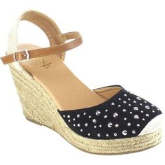 Women's Beston Sandra-02 Espadrille Wedge Sandal Faux /Fabric (US Women's (Regular))
