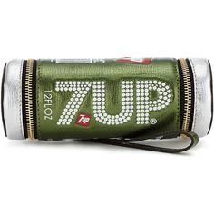 Anya Hindmarch 7UP Clutch ($1,295) ❤ liked on Polyvore featuring bags, handbags, clutches, green handbags, 80s fashion, metallic leather handbags, bow handbag and zipper purse