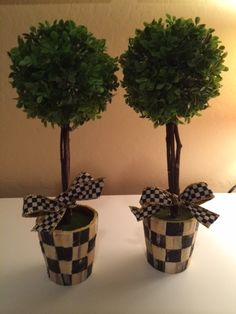 MACKENZIE-CHILDS Bow Ribbon On my Custom TOPIARIes (Set of 2) in courtly check pots Set of 2