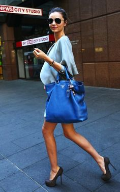 Blue Prada tote bag. So stylish! I hope that one day I can look like that every day!