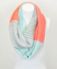 Aqua & Orange Stripe Color Block Infinity Scarf by Leto Collection #zulily #zulilyfinds